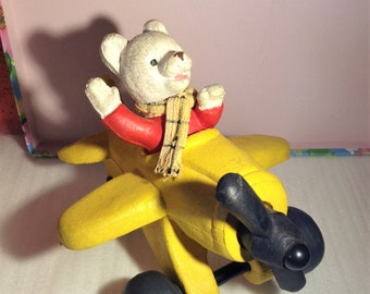 Vintage toys, Rupert the bear, airplane, collectable toys, old toys, retro toys, memorabilia, childrens, cartoons, gifts, mancave, decor