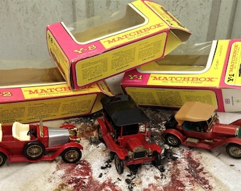 Matchbox models of the yesteryear cars. Boxed, model T Ford, Stutz, Prince Henry Vauxhall.