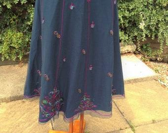 Skirt vintage clothing ,Embroidered, size 12, sequin, A line, Debenhams, long length, boho style, casualwear