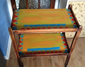 Trolley, Vintage Mid century, Moroccan Style furniture, sidetable, Boho, upcycled.