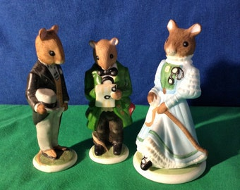 Figurines, Franklin mint mice, Wedding style, 3 porcelain mice William, Winsome, Professor plum.
