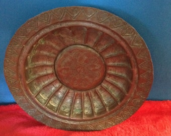 Vintage copper Dish, patterned, rustic home decor.