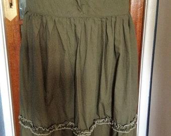 Womens layered skirt, uk size 12, green, victoriana, boho, hippie,
