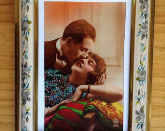 Framed Vintage French romantic post card,  handwritten text, 1920s.