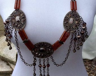 Necklace steampunk/ethnic style long metal brown necklace,boho style