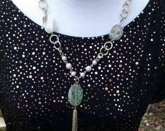 Necklace mixed beads,Chain and tassle Art deco style.