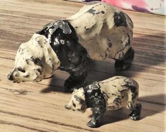 Metal, small panda bears diecast, lead? cast, vintage.