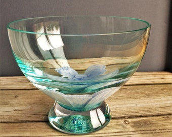 Glass Bowl, Preserved real flower paperweight.