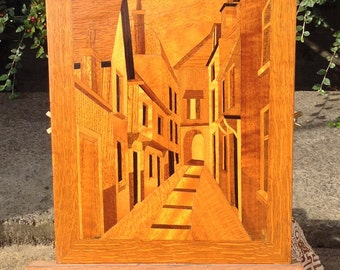 Picture wooden Marquetry street scene vintage wall decor wooden inlay medium size picture room wall decor boho shabby chic decor gift ides