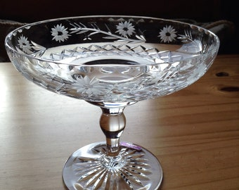 Glass bowl Scottish Crystal etched glass.