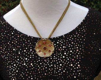 Necklace flower pendant art nouveau style in brown.