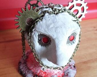 Sculpture, art, clay head, Horror Art, Steampunk cogs,ornament. Original art.