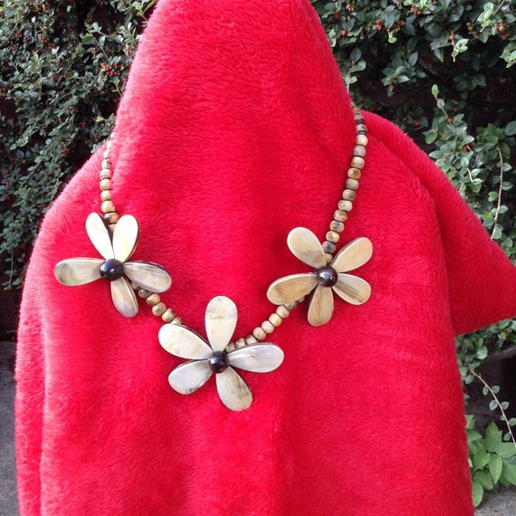 Necklace beads wooden big flowers boho style smart