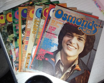 Osmonds world magazines, originals, 18-26, The osmonds, band, fan, collectables, retro, 1970s, magazine