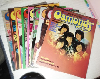 Osmonds world magazines, originals, 10-17, The osmonds, band, fan, collectables, retro, 1970s, magazine