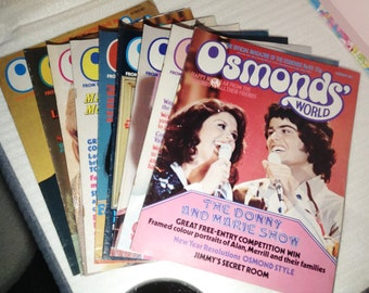 Osmonds world magazines, originals, 40-48, The osmonds, band, fan, collectables, retro, 1970s, magazine
