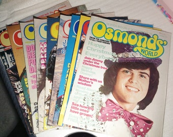Osmonds world magazines, originals, 27-35, The osmonds, band, fan, collectables, retro, 1970s, magazine