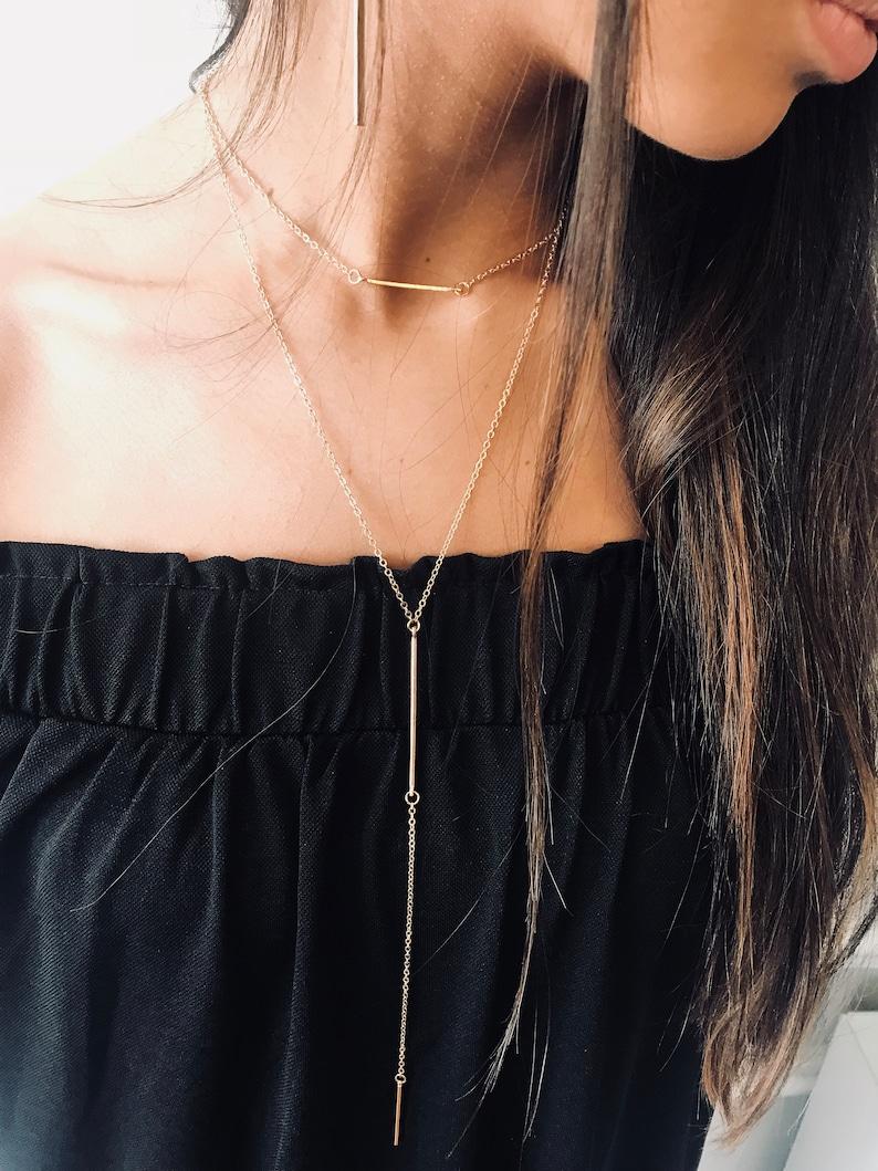 pendant Gold lariat necklace minimalist necklace Y necklace bridal necklace Bar necklace layered necklace gold choker Dainty Jewels