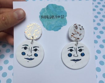Blue Babe Hand Drawn Dangles