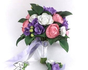 Bridal Bouquet Wedding Bouquet Bridesmaid bouquet Purple Lavender wedding bouquet Alternative wedding bouquet Keepsake bridal bouquet Peony