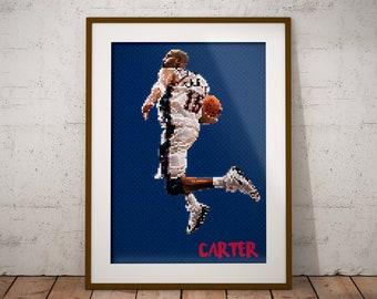 4a66a4fa732 Vince Carter, Vinsanity, Toronto Raptors, New Jersey Nets, Brooklyn Nets,  VC, Carter, Pixel Art, NBA Decor, Sports Print, Man Cave, Poster