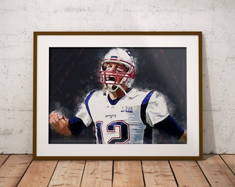 New England Patriots Luster Art Print Super Bowl 53 Tom Brady The Goat