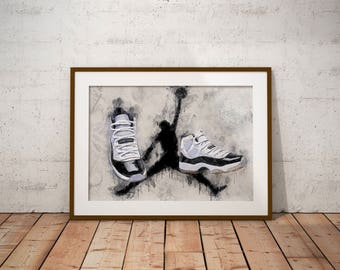 official photos 86b6d d2374 Jordan 11 - Jordan XI- Concords - Sneakers - Poster - Art - Wall Decor -  J s - Michael Jordan - Modern water