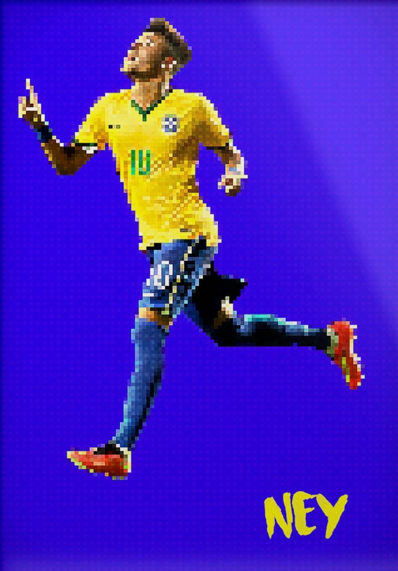 Neymar Brazil Fc Ney Barca Brazil Psg Paris St Germain Pixel Art Sports Print Man Cave Poster Football Futbol Soccer