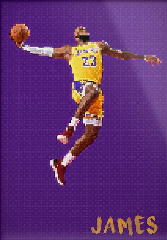 Lebron James La Lakers King James Pixel Art Lebron James Poster Lebron James Art Pixel Art