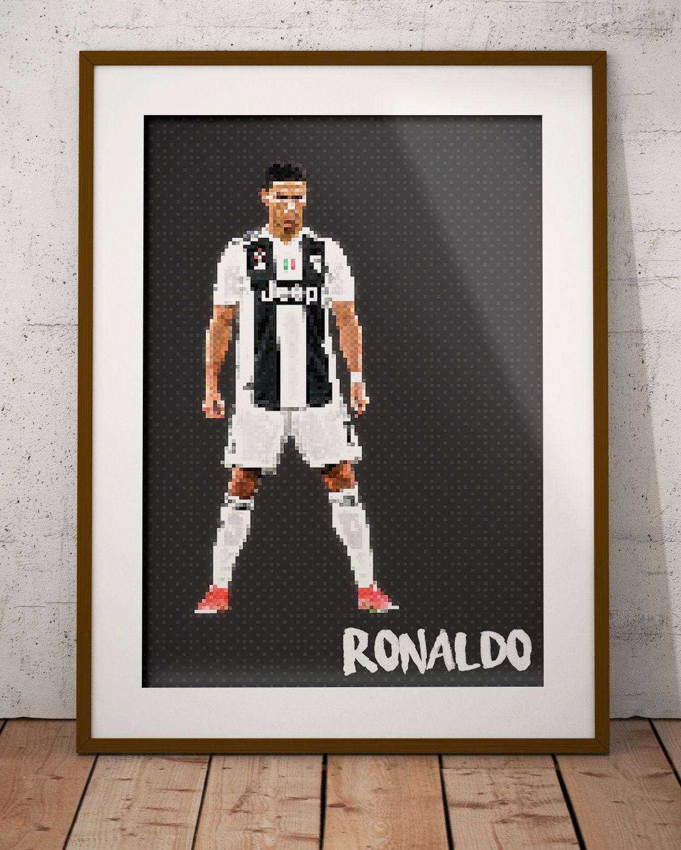 Cristiano Ronaldo Juventus Ronaldo Cr7 Poster Art Serie A Football Soccer Pixel Art