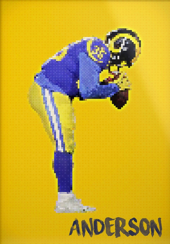 Cj Anderson Los Angeles Rams La Rams Rams St Louis Rams Pixel Art Nfl Decor Sports Print Man Cave