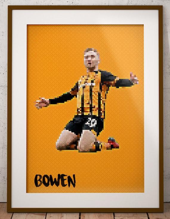 Jarrod Bowen Pixel Art Poster Hull City Poster Bowen Poster Art English Football Football Soccer Pixel Art