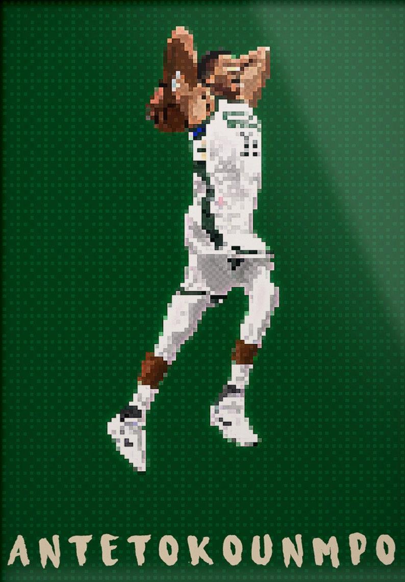 Giannis Antetokounmpo Pixel Art Poster Milwaukee Bucks Giannis Antetokounmpo Pixel Art
