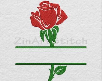 Rose Flower Split Machine Embroidery Design Instant Digital Download 6 Sizes  8 Formats