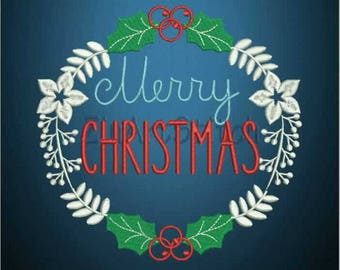 Merry Christmas Embroidery Design 3 Sizes  Digital Machine Embroidery Design   8 Formats  PES Instant Digital Download