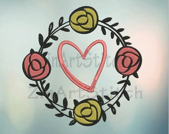 Heart and Flowers Embroidery Design Heart Embroidery Design Instant Download Machine embroidery design Embroidery File 4 Sizes  8 Formats