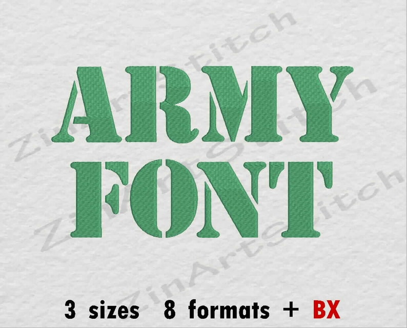 Army Font Machine Embroidery Font Monogram Alphabet 3 Sizes 8 Formats BX
