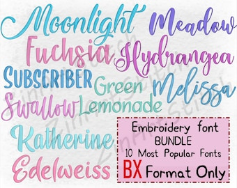 Bundle 10 Best Sellers embroidery fonts Embroidery Fonts Pack Instant Download Alphabet Script Letters Monogram 7-8 Sizes ONLY BX format