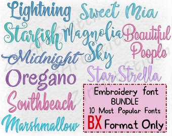 Bundle 10 Best Sellers embroidery fonts Embroidery Fonts Pack Instant Download Alphabet Script Letters Monogram 5-7 Sizes ONLY BX format