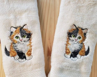 Cat Towels Embroidered Personalised Towels /& Tea Towels Cat 60