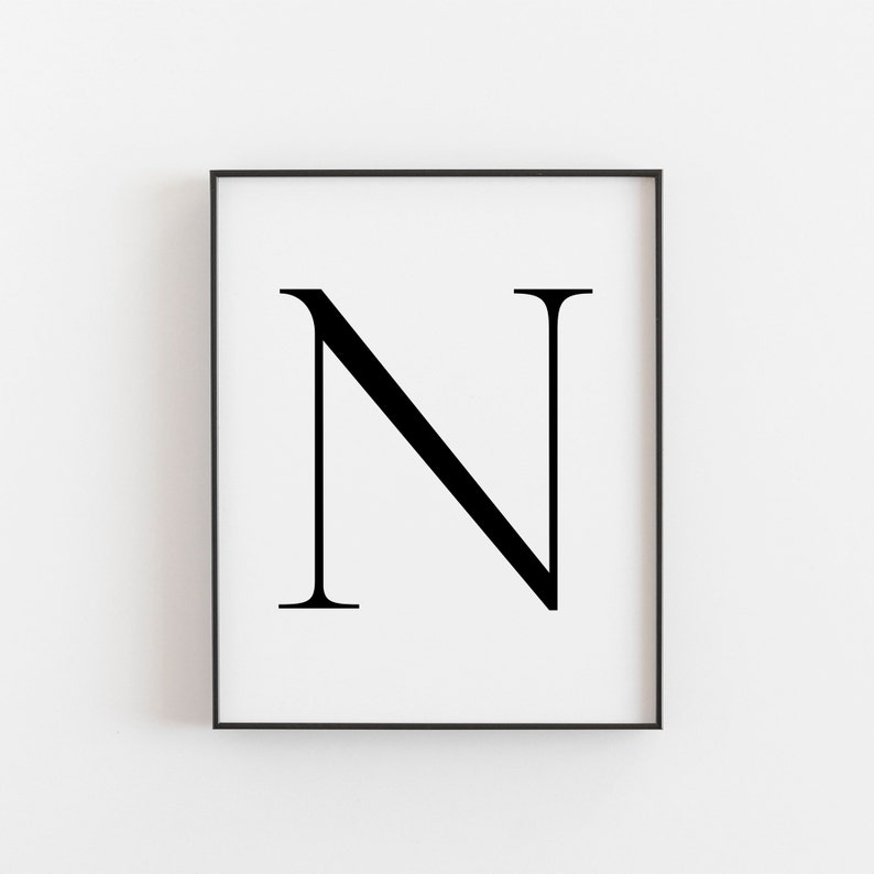 photograph regarding Letter N Printable named Letter N, N Printable, Letter Printable, Letter N Poster, Scandinavian Print, Nordic Print, Scandi Design and style Print, Minimalist Artwork, Wall Decor