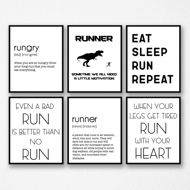 f37c656c67 Runner Gift Running Quotes Set of Six Set of 6 Home Wall | Etsy