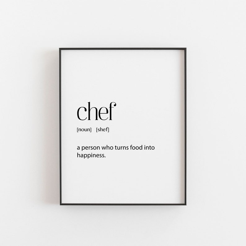 Chef Gift Chef Definition Foodie Lover Gifts Christmas Gift For Wife Or Husband Cook Poster Kitchen Wall Art Mum Dad Cooking Art