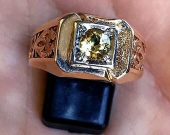 14ct Yellow Gold Beryl Emerald Ring