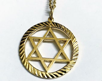 18ct Yellow Gold Handmade Star of David Necklace