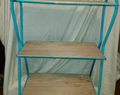 Beautiful Vintage Seaside Blue Metal and Wood Shelf.