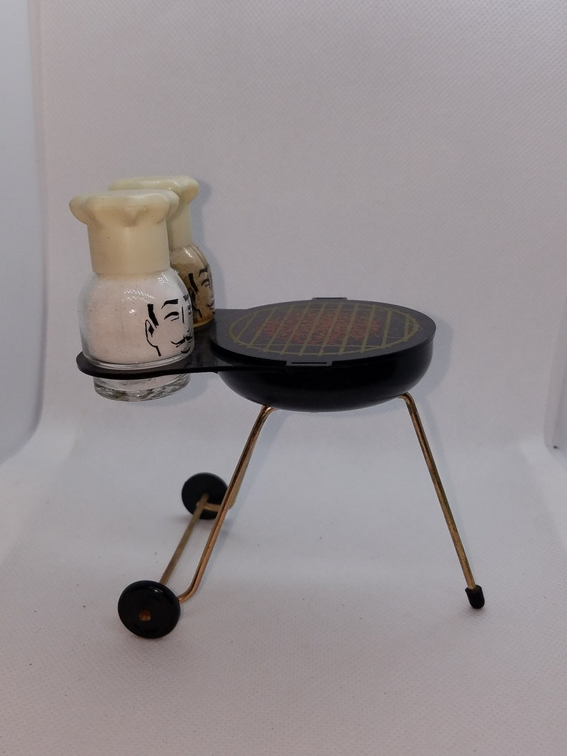 Vintage Barbque Grill Sugar holder with Chef Salt and pepper shakers.