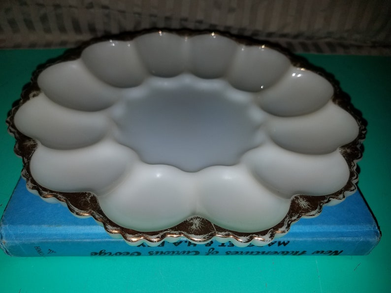 Vintage Ivory Milk Glass with Gold Trim Egg Plate