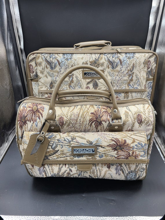 Vintage Jordache Carpet Bag Suitcase & Overnight C