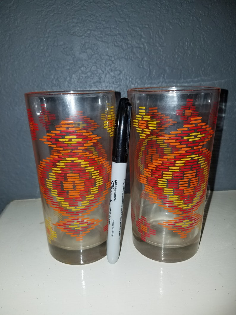 Set Of Vintage Libbey Glasses With Groovy Pattern 1960 S Etsy